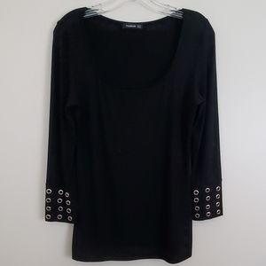 Patty Boutik Black Tunic Pullover Top - L